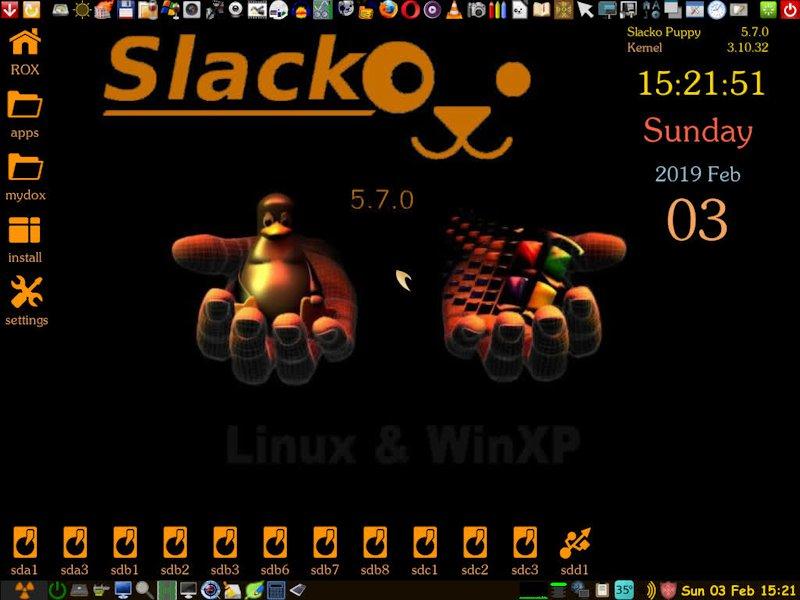 slacko 5.7.0 PAE, K.3.10.32 EngHun CD – 4-ik revízió